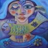 """Ölgemälde """" Gelber Fisch"""" 40 x 40 cm (2015)"""