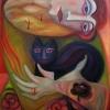 "Marion Lucka: Ölgemälde ""Katzenfreundin"" 60 x 80 cm (2019)"