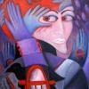 Marion Lucka: Kopfrote, 50 x 70 cm (2015)