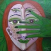 "Marion Lucka: Ölgemälde ""Maifrau 1"" 30 x 30 cm (2019)"