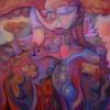 Marion Lucka: Frühlingsfrau, 100 x 100 cm (2013)
