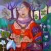 Marion Lucka: Mutter und Tochter, 100 x100 cm (2015)