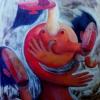 """Marion Lucka: Ölgemälde """"Tänzerin"""" 100 x 120 cm (1998)sold"""
