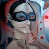 Marion Lucka: Vernarbte, Öl, 50 x 50 cm