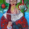 Marion Lucka: Vogelfreundin, 70 x 100 cm (2015)