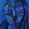 Marion Lucka: Blauverfinsterte, Öl, 60 x 80 cm (2015)