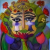 Marion Lucka: Blumenmaske, 100 x 100 cm (2015)