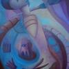 Marion Lucka: Dolchstoß, Öl, 70 x 100 cm (1994)