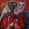 Marion Lucka: Dunkle Frau trägt helle Katze, Ö,l 80 x 80 cm (2017)