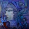 """Marion Lucka: Ölgemälde """" Fischfängerin"""" 70 x 70 cm (2012)"""