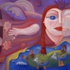 Marion Lucka: Flug. Öl, 60 x 80 cm (2007)