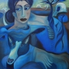"""Marion Lucka: Ölgemälde """"Frau und Hund am Meer""""  60 x 80 cm (2018)"""