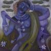 Marion Lucka: Frau mit Blumenwunde, Öl, 100 x 100 cm (2014)