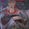 Marion Lucka: Frau mit roten Federn, Öl, 60 x 80 cm (2016)