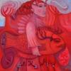 Marion Lucka: Frau trägt roten Fisch, Öl 80 x 80 cm (2017)