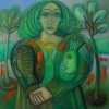 "Marion Lucka: ""Goldfischfrau"" 70 x 100 cm (2017)"