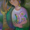 """Marion Lucka: Ölgemälde """"Grüne Madonna"""" 70 x 100 cm (2013)"""