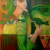 "Marion Lucka: Ölgemälde "" Grüner Vogel in der Hand"" 60 x 80 cm (2017)"