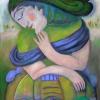 Marion Lucka: Grüner Schlaf, Öl, 40 x 50 cm (2013)