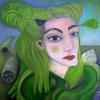 "Marion Lucka: Ölgemälde "" Muschelgrüne"" 60 x 60 cm (2017)"