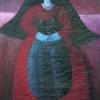 Marion Lucka: Frau mit schwarzer Katze, Öl 50 x 60 cm (2008)