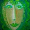MarionLucka: Grünblumenfrau, Öl, 40 x 50