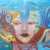 """Marion Lucka: Ölgemälde """" Unterwasserfrau"""" 60 x 80 cm (2018)"""