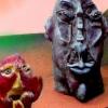 Marion Lucka: Kartoffelkopf und roter Kopf, Ton (1995)