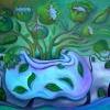 Marion Lucka: Stillleben in Grün, Öl, 50 x 70 cm (2014)