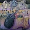 Marion Lucka: Stillleben mit haariger Vase, Öl, 60 x 60 cm( 2009)