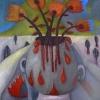 Marion Lucka: Stillleben mit Bluttopfen, Öl, 50 x 60 cm (2013)