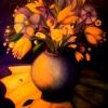 Marion Lucka: Stillleben mit gelben Blüten, Öl, 50 x 60 cm (1990)