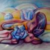 Marion Lucka: Stillleben mit Tierschädeln, Öl, 70 x 80 cm (1986)