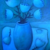 Marion Lucka: Stillleben mit blauen Blüten, 40 x 50 cm (2003)