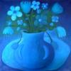 Marion Lucka: Stillleben auf blauem Tuch, 30 x 40 cm (2006)