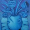 """Marion Lucka: """"Stillleben in Blau"""" 30 x 40 cm (2019)"""
