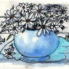 Marion Lucka: Blumenblau, Aquarell, 13 x 17 cm (2003)