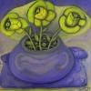 """Marion Lucka: """"Gelbe Blüten"""" 40 x 40 cm (2019)"""