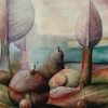 Marion Lucka: Äpfel in Landschaft, Öl 30 x 40 cm (1988)