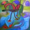 Marion Lucka: Stillleben auf Wassertuch, 70 x 70 cm (2015)