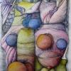 Stillleben mit Äpfeln, Tusche, 50 x 70 cm (1989))