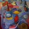 Marion Lucka: Stillleben mit gelber und roter Zitrone, 60 x 80 cm (2013)
