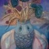 Marion Lucka: Stillleben mit Fischvase, Öl, 50 x 60 cm (1999)
