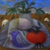 Marion Lucka: Stillleben in der Wüste, Öl, 50 x 50 cm (2012)