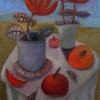 Marion Lucka: Stillleben mit Peperoniblüten, Öl, 50 x 70 cm (2013)