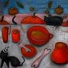 Marion Lucka: Stillleben mit katze und Rot, 30 x 40 cm (2013)