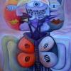 Marion Lucka: Stillleben mit Katzenkopf, Öl, 40 x 50 cm (2013)