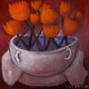 Marion Lucka: Stillleben mit orangen Blüten, Öl, 20 x 30 cm (2014)