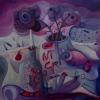 Marion Lucka: Ölgemälde, Stillleben mit dunklen Rosen,Öl, 100 x 100 cm ((2008)