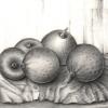 Marion Lucka: Stillleben mit Äpfeln, Bleistift, 20 x 30 cm (1981)